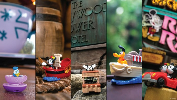 New Line of Happy Meal Toys at McDonalds features Mickey and Minnie, Goofy, Pluto, Donald and Daisy experiencing some of the iconic attractions from across Walt Disney World Resort