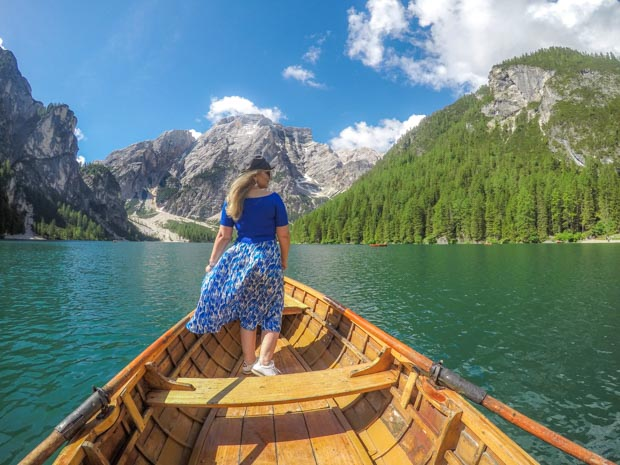 Dolomitas e Lago de Braies na Itália