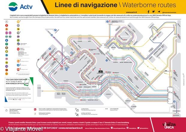 Mapa do Vaporetto em Veneza