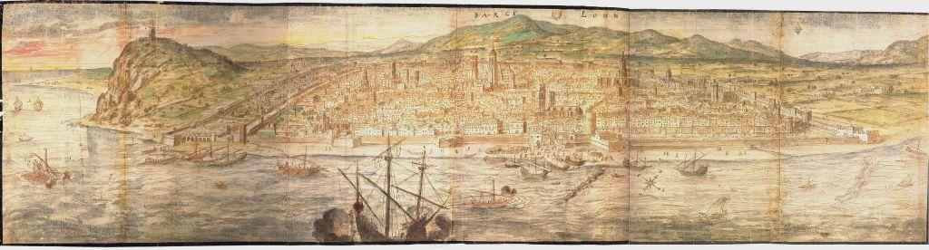 Barcelona en 1563 en un dibujo de Anton van den Wyngaerde