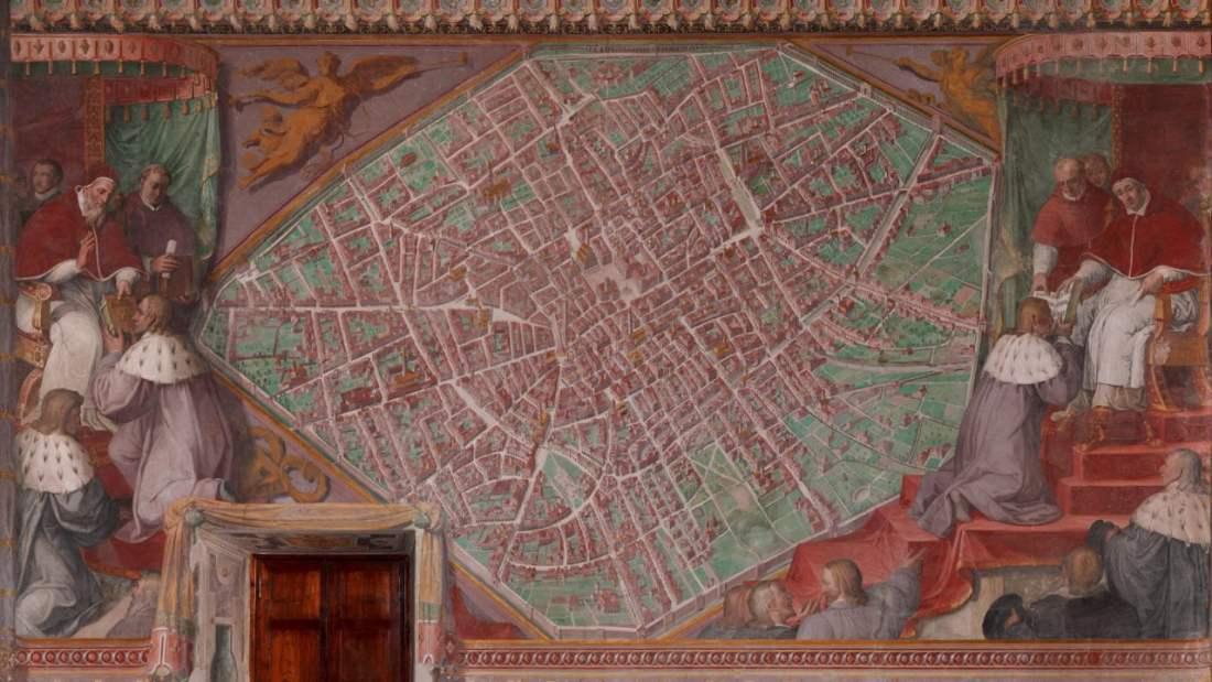 veduta prospettica di bologna sala bologna musei vaticani