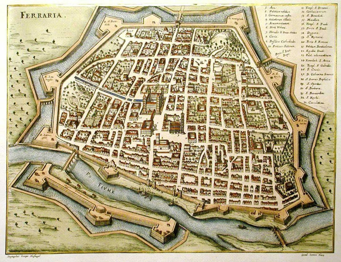 Mapa de la ciudad de Ferrara en el Renacimiento