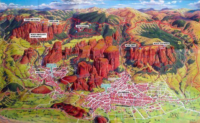Mapa del tour de los monasterio de Meteora en Grecia