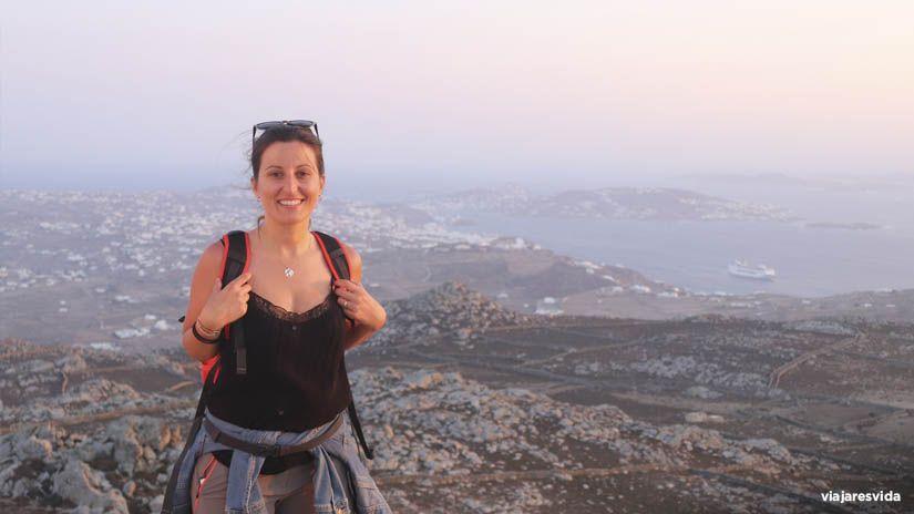 Vistas panorámicas de Mykonos desde su punto más alto