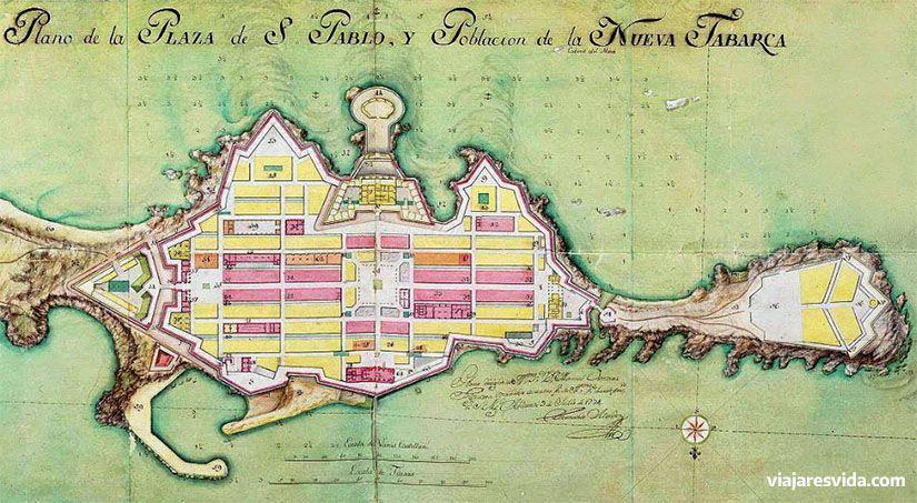 Plano de Nueva Tabarca tal y como fue proyectada originalmente