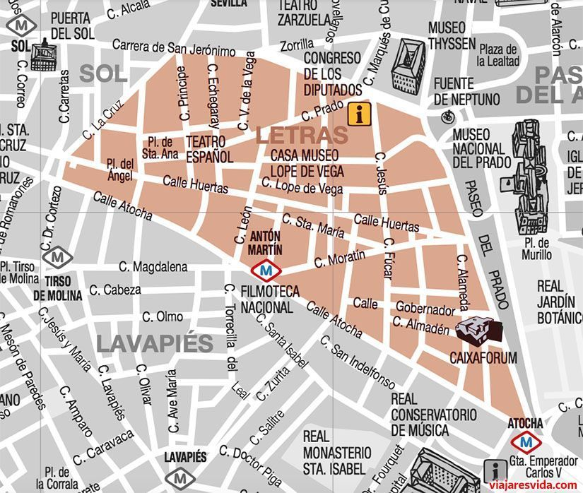 Mapa del barrio de las Letras