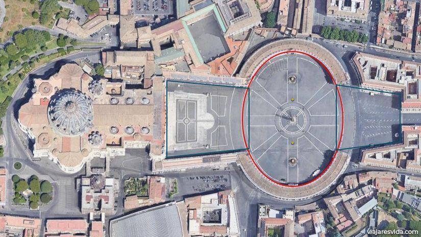 Formas ovaladas y trapezoidales en Plaza de San Pedro del Vaticano