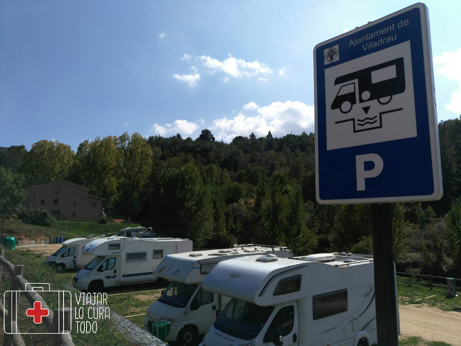 Área de autocaravanas en Viladrau. ¡Así sí!