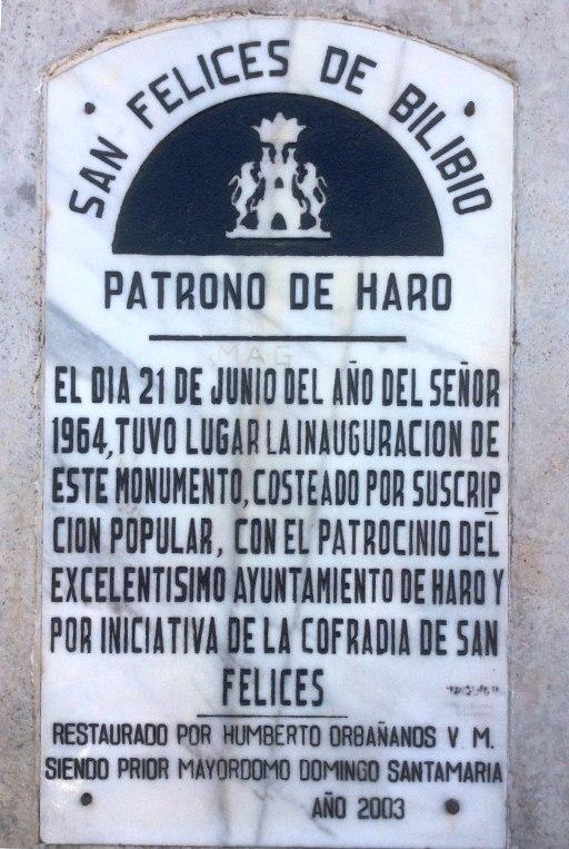 Placa conmemorativa del monumento a San Felices de Bilibio