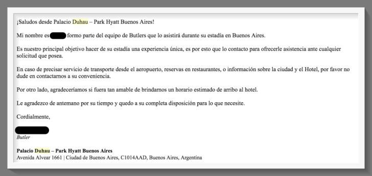 Park Hyatt - Palacio Duhau Email Mayordomo - Frame2