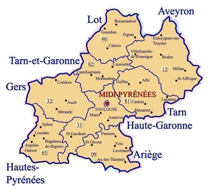 Resultado de imagen de mapa midi pyrenees