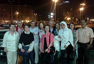 Fotografía de nuestro grupo en la Plaza Tahrir de El Cairo - Semana Santa