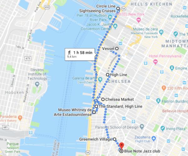 Mapa Ruta 1 día en NYC