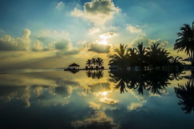 Puesta de sol en las Maldivas