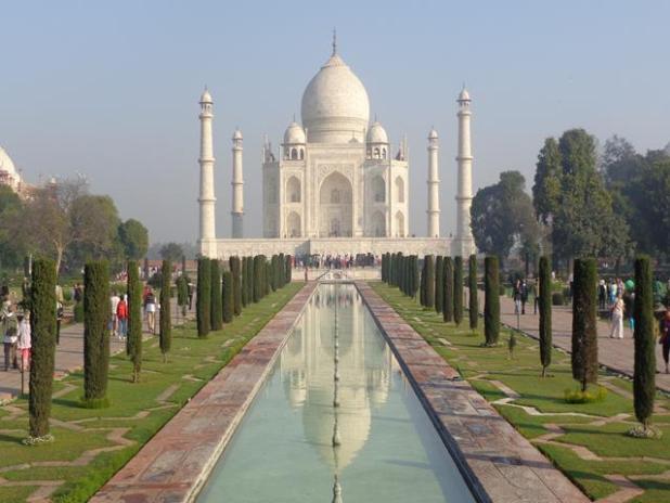 puesta de sol del Taj Mahal