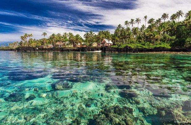 Laguna barrera coral sur Upolu isla Samoa