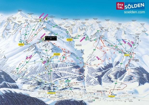 Mapa de esquí de las pistas de Solden (Austria)