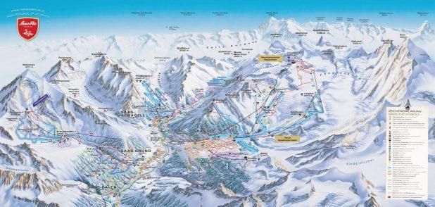 Mapa de pistas de Saas-Fee