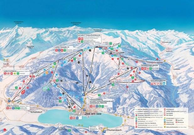 Mapa de pistas de Schmittenhöhe