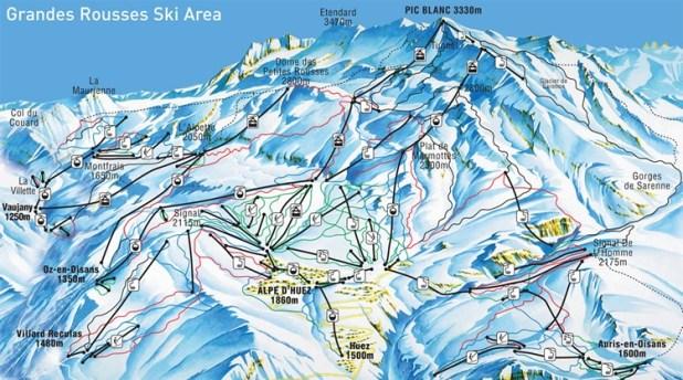 Mapa de pistas de Alpe D´huez