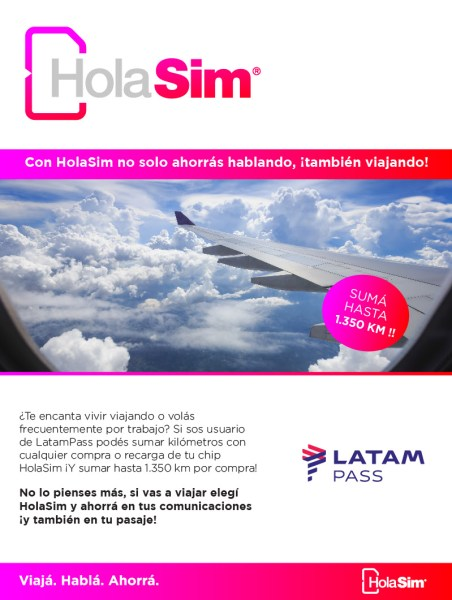 HolaSim Connect, sumá KM LATAM Pass con tu chip de datos