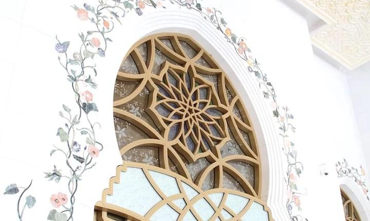 Detalhes na Mesquita de Abu Dhabi
