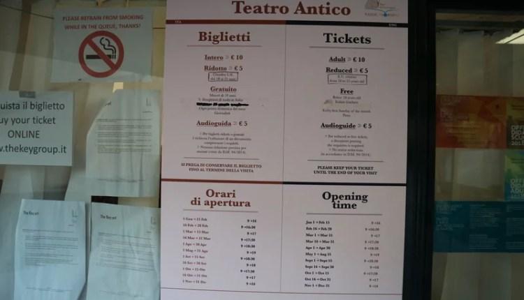 Teatro Antico de Taormina bilheteria preços