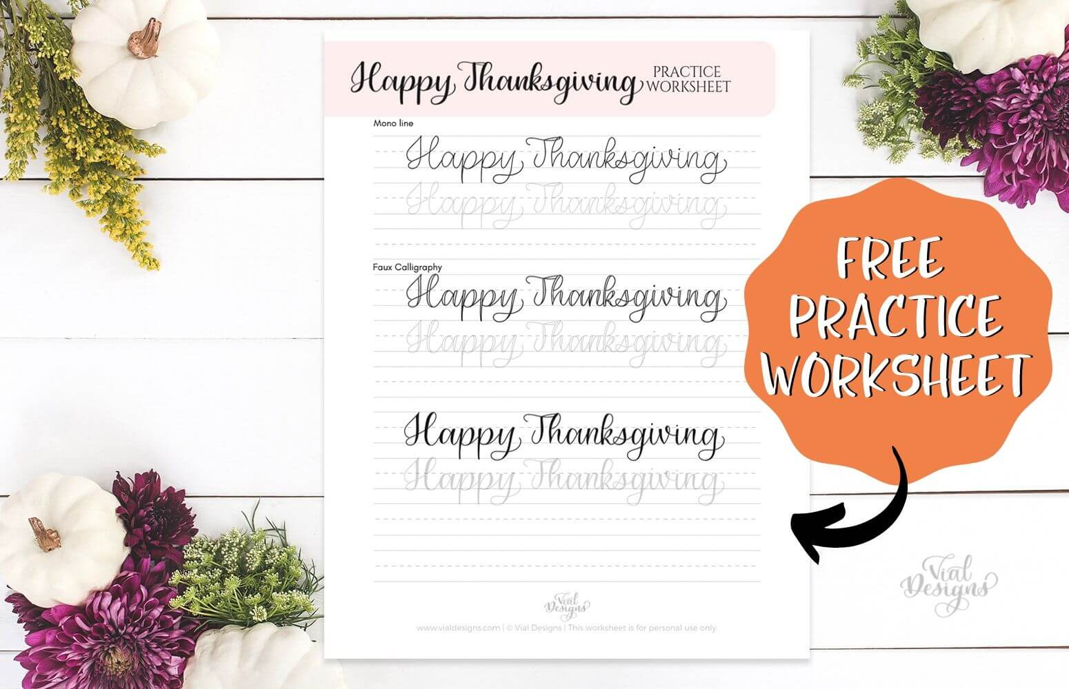 Happy Thanksgiving Free Lettering Worksheet