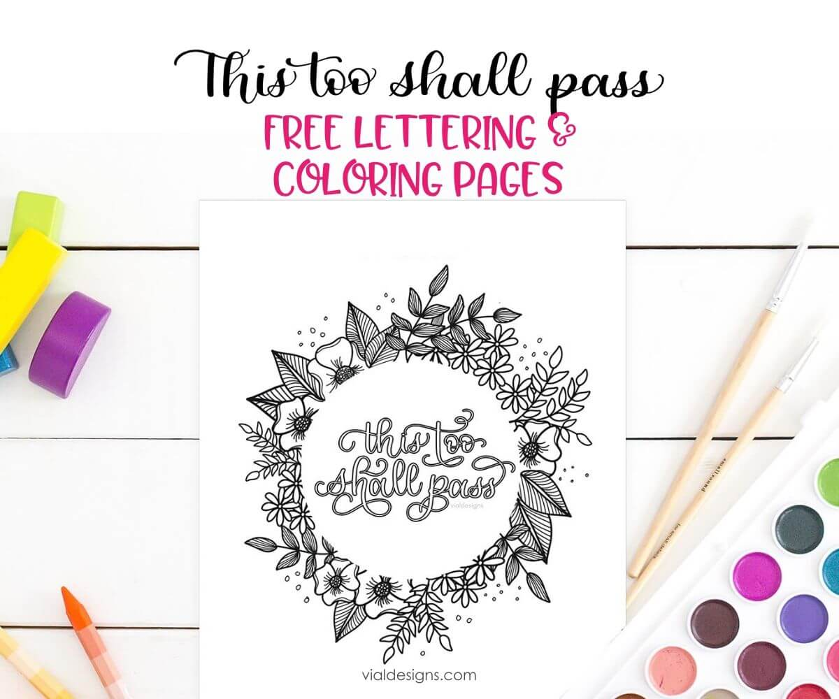This Too Shall Pass Lettering Coloring Pages