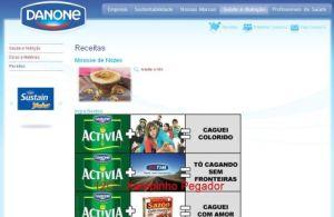 Screen shoot do site da Danone
