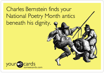 National Poetry Month greeting card - Charles Bernstein
