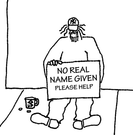 Homeless man with sign: No real name given - please help