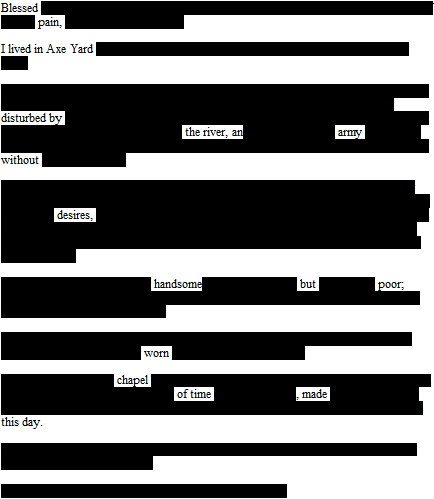 Erasure poem derived from the Diary of Samuel Pepys.