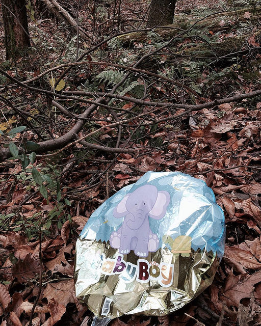 "A deflated balloon in the woods with a picture of a baby elephant on it tan the words ""baby boy."""