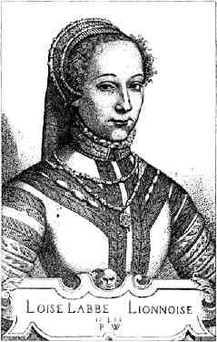 Louise Labé - engraving byPierre Woeiriot
