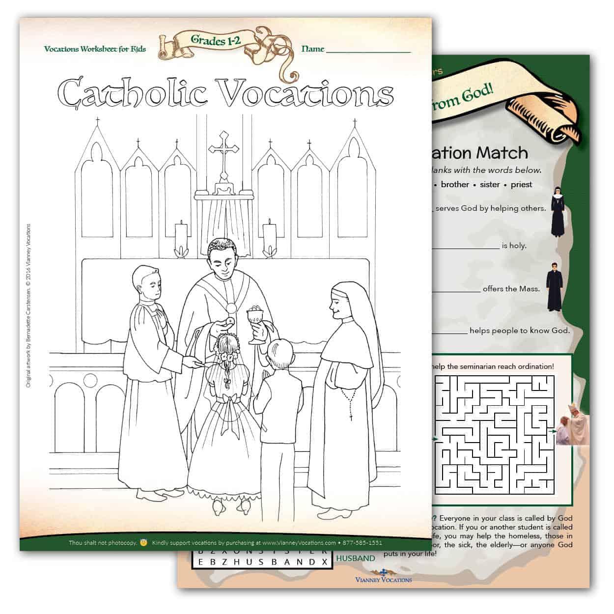 Vocations Worksheet For Kids