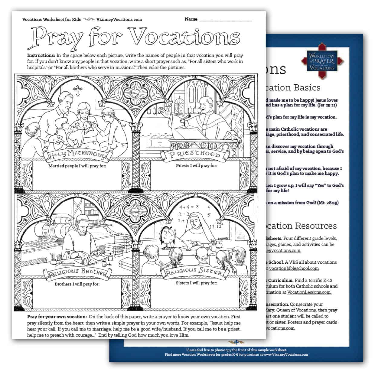 Pray For Vocations Coloring Sheet All Ages