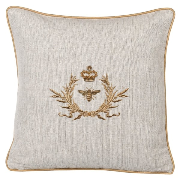 Bee and crest cushion