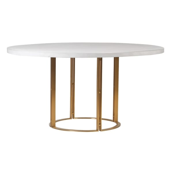 White concrete top round dining table
