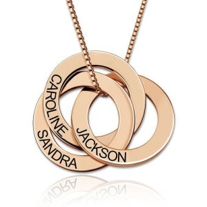 Russian Ring Necklace with Engraving - Rose Gold Plated