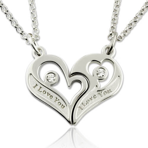 Couple's Breakable Heart Necklace With Birthstones Silver