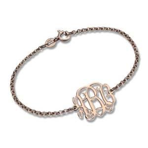 Rose Gold Plated Silver Monogram Bracelet
