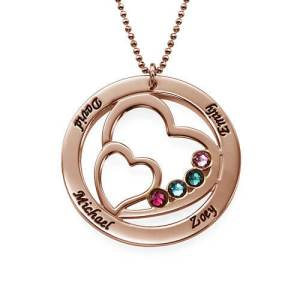 Heart in Heart Birthstone Necklace for Moms - Rose Gold Plating