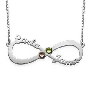 2 Names & Birthstones Infinity Love Necklace Sterling Silver