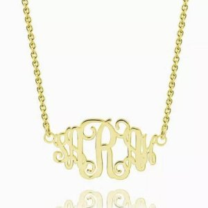 Celebrity Monogram Necklace 14K Gold Plated
