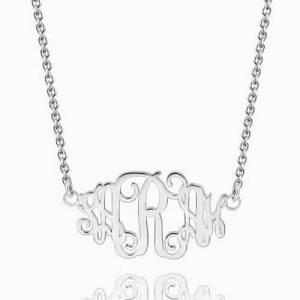 Celebrity Monogram Necklace Silver