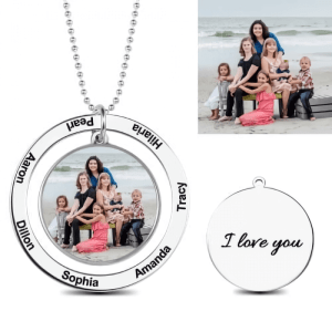 Personalized Engraved Circle Photo Necklace Sterling Silver