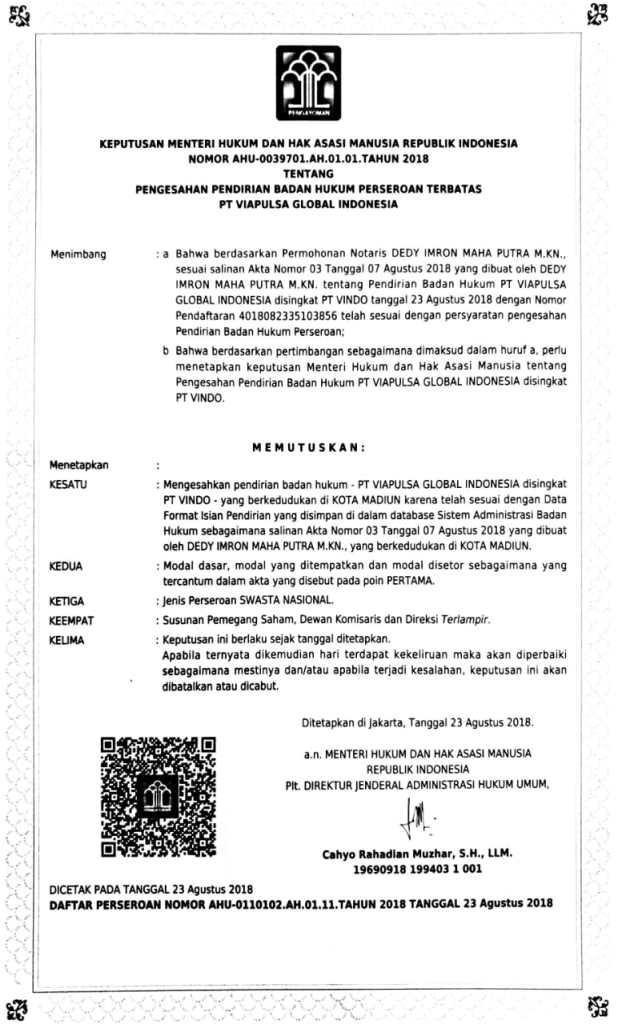 Surat Keterangan Perizinan Usaha PT Viapulsa Global Indonesia