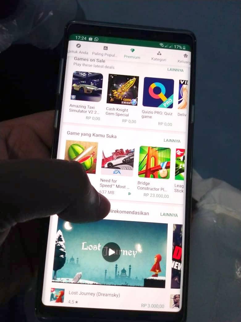 Tampilan Google Play Store Pada Galaxy Note 9