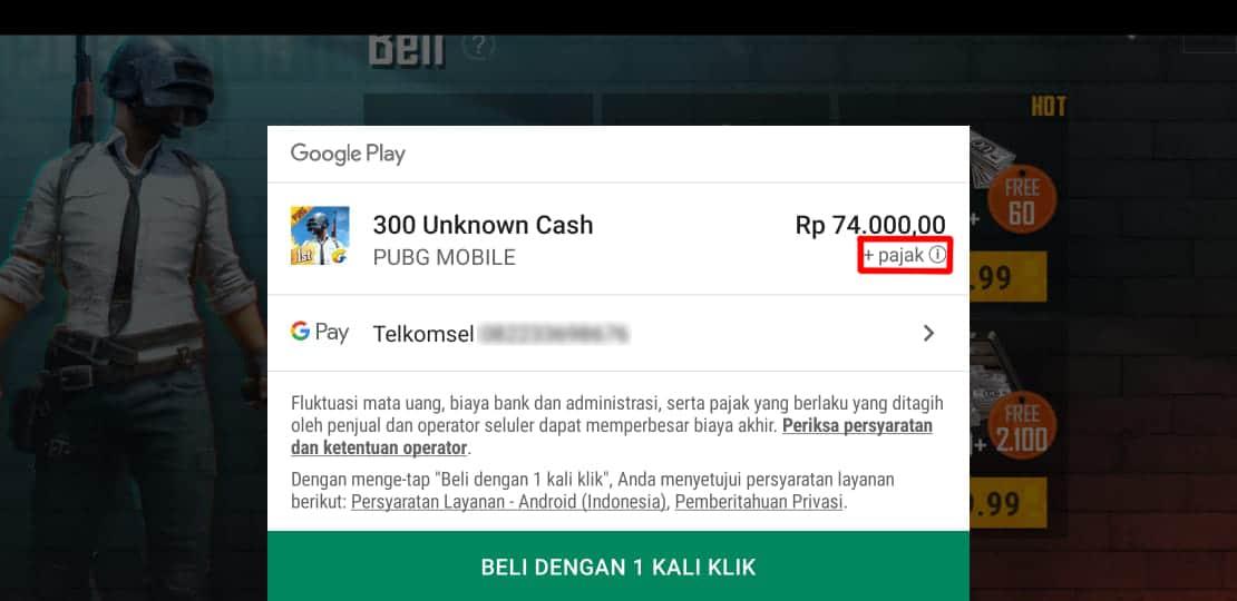 """Tampilan """"In App Purchase"""" Game PUBG Dengan Pulsa Telkomsel"""